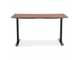 Bureau droit assis/debout 'LIVELLO' en bois finition Noyer et métal noir - 140x70 cm