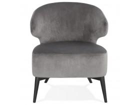 Fauteuil lounge vintage 'LUXY' en velours gris et pieds en bois noir