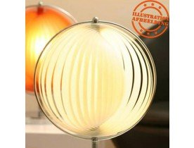 Lampe de table à poser 'LUNA' à lamelles plastique blanches