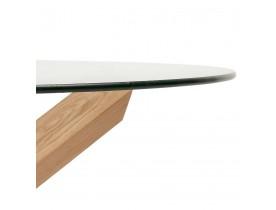 Table basse de salon 'MAGIK' ronde en verre et bois massif