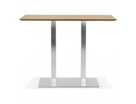 Table haute design 'MAMBO BAR' en bois finition naturelle avec pied en métal brossé - 150x70 cm