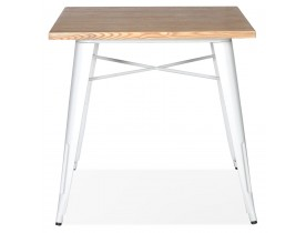 Table carrée style industriel 'MARCUS' en bois clair et pieds en métal blanc - 76x76 cm