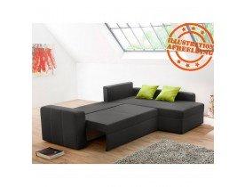 Canapé d'angle design 'MALIKA' en tissu gris foncé (angle au choix)