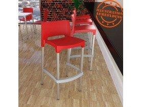 Tabouret de bar 'MATY' rouge empilable extérieur et intérieur