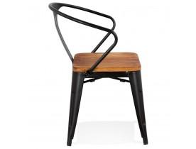 Chaise style industriel 'METROPOLIS' en métal noir