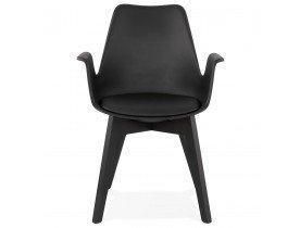 Chaise avec accoudoirs 'MISTRAL' noire avec pieds en bois noir