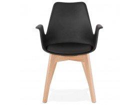 Chaise avec accoudoirs 'MISTRAL' noire style scandinave