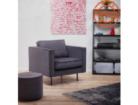Pouf / repose-pied design 'MOSTRA' en velours gris foncé