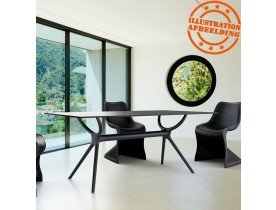 Table interieur/exterieur 'OCEAN' design en matière plastique noire - 180x90 cm