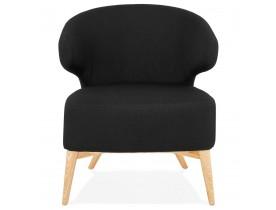 Fauteuil lounge 'ODILE' en tissu noir et pieds en bois finition naturelle