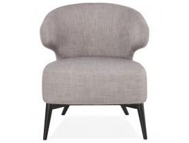 Fauteuil lounge 'ODILE' en tissu gris et pieds en bois noir