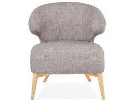 Fauteuil lounge 'ODILE' en tissu gris et pieds en bois finition naturelle