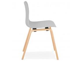 Chaise scandinave 'PACIFIK' grise avec pieds en bois finition naturelle