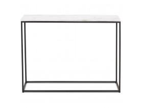 Table console design 'PATIO' en marbre blanc et métal noir