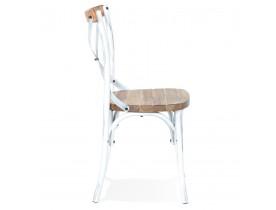Chaise de cuisine 'RANCH' en bois finition Noyer effet vieilli