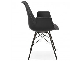 Chaise avec accoudoirs 'SALY' noire style industriel