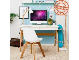 Bureau droit design 'SIROKO' blanc style scandinave - 120x70 cm
