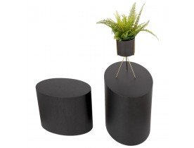 Set de 2 tables d'appoint 'SOKLE' en bois noir