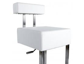 Tabouret de bar 'SPOON' avec haut dossier en matière synthétique blanche