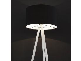 Lampadaire trépied 'SPRING' avec abat-jour noir et 3 pieds blancs