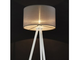Lampadaire trépied 'SPRING' avec abat-jour gris et 3 pieds blancs
