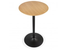 Table haute ronde 'TAMAGO' en bois finition naturelle et métal noir - Ø 60 cm
