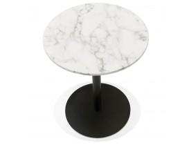 Petite table bistrot ronde 'TOMY' en pierre blanche effet marbre et métal noir - Ø 60 cm