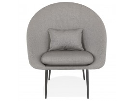 Fauteuil design lounge 'TOTEM' en tissu gris clair