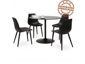 Table à dîner ronde 'TROBO' noire en verre - Ø 100 cm