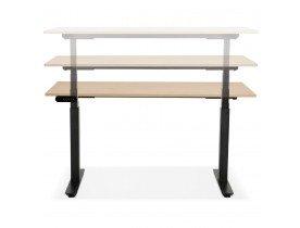 Bureau assis debout électrique 'TRONIK' noir avec plateau en bois finition naturelle - 140x70 cm