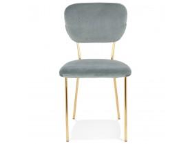 Chaise vintage 'VERDAD' en velours gris et structure en métal doré
