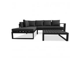 Salon de jardin en angle 'VERONA L SHAPE' en tissu gris foncé et aluminium noir