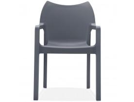 Chaise design de terrasse 'VIVA' gris foncé en matière plastique