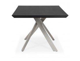 Table à manger design 'WALABY' en bois noir avec pied central en métal - 200x100 cm