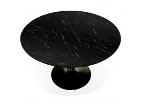 Table à dîner ronde 'WITNEY' en marbre et métal noir - Ø 120 cm