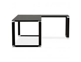 Grand bureau de direction en angle 'XLINE' en verre noir (angle au choix) - 200 cm