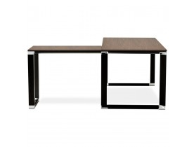 Bureau d'angle design 'XLINE' en bois finition Noyer et métal noir (angle au choix)