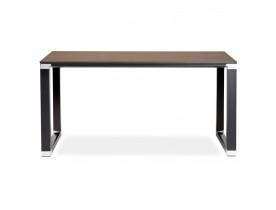 Petit bureau droit design 'XLINE' en bois finition Noyer et métal noir - 140x70 cm