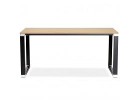 Bureau droit design 'XLINE' en bois finition naturelle et métal noir - 160x80 cm