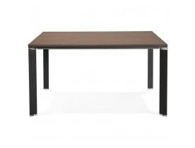 Table de réunion / bureau bench 'XLINE SQUARE' en bois finition Noyer et métal noir - 140x140 cm