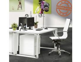 Bureau de direction droit design 'XLINE' en bois blanc - 160x80 cm
