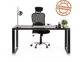Petit bureau droit design 'XLINE' en bois noir - 140x70 cm