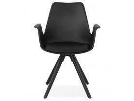 Chaise avec accoudoirs 'ZALIK' noire avec pieds en bois noir
