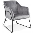 Fauteuil lounge design 'BRANDO' en velours gris