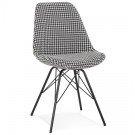 Chaise design 'ZAZY' en tissu pied de poule et pieds en métal noir
