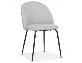 Chaise au style rétro 'ANNIE' en tissu gris et pieds en métal noir - commande par 2 pièces / prix pour 1 pièce