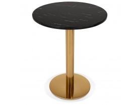 Petite table bistrot ronde 'BATIGNOL' en marbre noir et pied en métal doré - Ø 60 cm