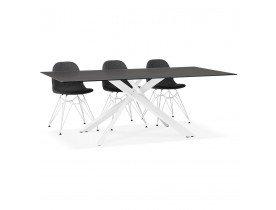 Table à diner design 'BIRDY' en verre noir avec pied central en x blanc - 200x100 cm