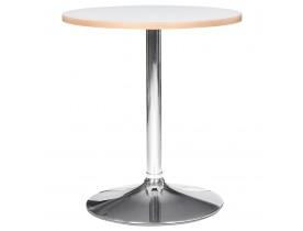 Table ronde 'CASTO ROUND' blanche et pied chromé - Ø 80 cm