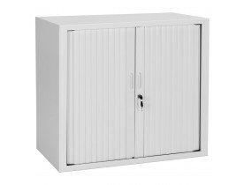 Petite armoire de bureau à rideaux 'CLASSIFY' grise - 72x80 cm